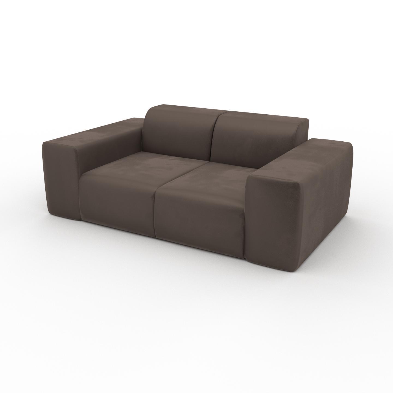 MYCS Canapé Velours - Taupe Gris, forme arrondie, canapé bas et profond pour salon, en tissu sans pieds - 186 x 72 x 107 cm, modulable