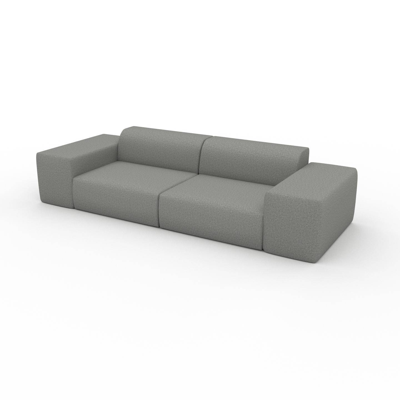 MYCS Canapé 3 places - Gris Clair, forme arrondi, canapé pour trois personnes, moelleux - 294 x 72 x 107 cm, modulable