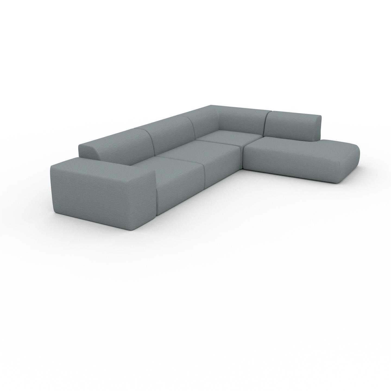 MYCS Canapé d'angle - Bleu Pigeon, design arrondi, canapé en L ou angle, confortable avec méridienne ou coin - 241 x 72 x 353 cm, modulable