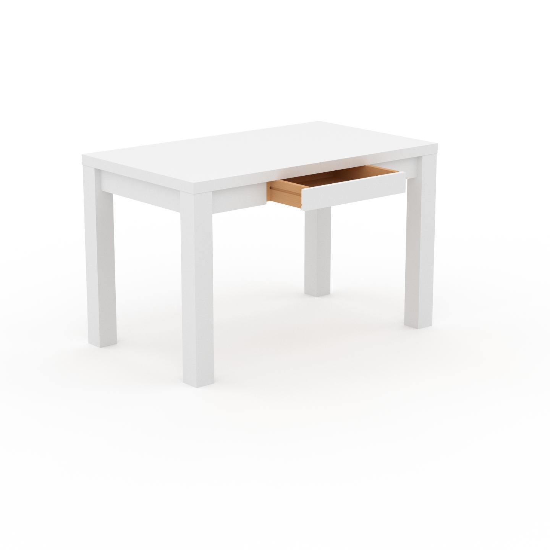 MYCS Bureau - Blanc, design, table de travail raffinée, avec tiroir Blanc et cadre Blanc - 120 x 76 x 70 cm, modulable