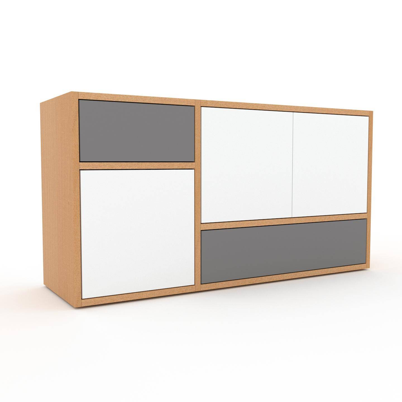 MYCS Enfilade - Blanc, design, buffet, avec porte Blanc et tiroir Gris - 116 x 61 x 35 cm