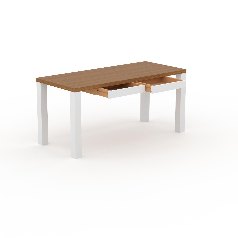 MYCS Bureau - Chêne, moderne, table de travail, avec tiroir Blanc - 160 x 76 x 70 cm, modulable