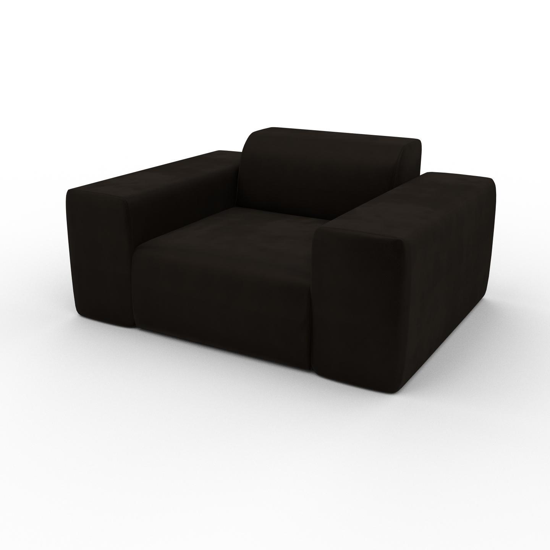 MYCS Fauteuil Velours - Brun Café, forme arrondi, grand fauteuil en tissu, bas et profond - 141 x 72 x 107 cm, modulable