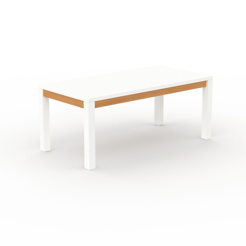 MYCS Table à manger - Blanc, avec cadre Hêtre - 180 x 76 x 90 cm, personnalisable