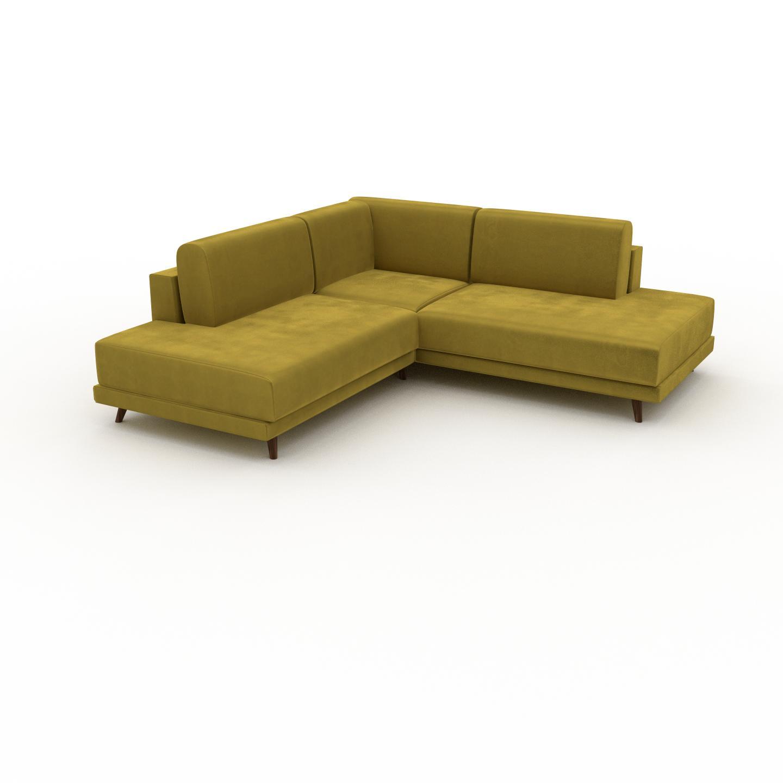 MYCS Canapé d'angle Velours - Jaune Colza, design épuré, canapé en L ou angle, élégant avec méridienne ou coin - 214 x 75 x 214 cm, modulable