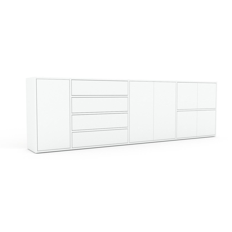 MYCS Enfilade - Blanc, design, buffet, avec porte Blanc et tiroir Blanc - 265 x 80 x 35 cm