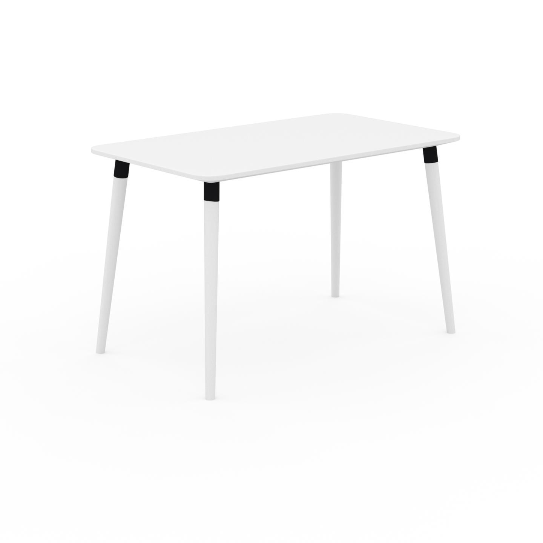 MYCS Bureau scandinave - Blanc, design moderne, table de travail nordique, avec pieds inclinés et épurés - 120 x 75 x 70 cm, modulable