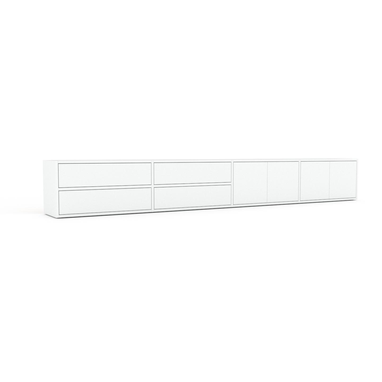 MYCS Buffet bas - Blanc, design contemporain, avec porte Blanc et tiroir Blanc - 301 x 41 x 35 cm