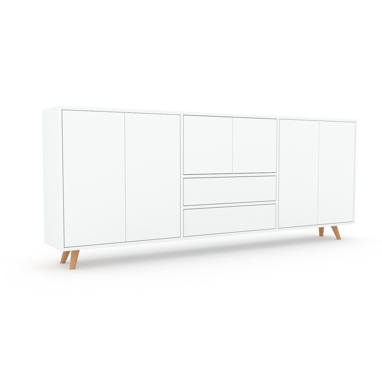 MYCS Bibliothèque murale - Blanc, combinable, étagère, avec porte Blanc et tiroir Blanc - 226 x 91 x 35 cm