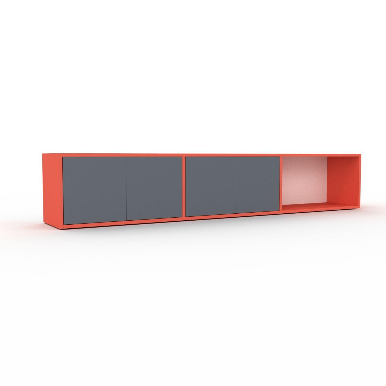 MYCS Buffet bas - rouge, pièce de caractère, rangements bas de luxe, avec porte anthracite - 226 x 41 x 35 cm, personnalisable