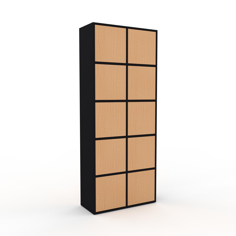MYCS Meuble de rangements - Noir, moderne, pour documents, avec porte Hêtre - 79 x 195 x 35 cm, personnalisable