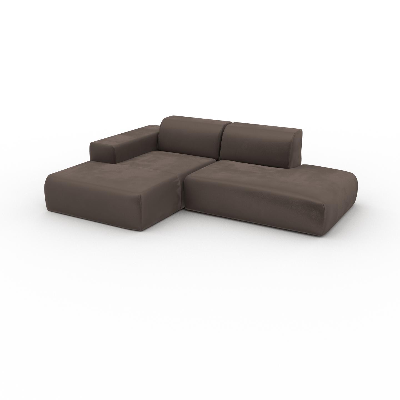 MYCS Canapé d'angle Velours - Taupe Gris, design arrondi, canapé en L ou angle, confortable avec méridienne ou coin - 245 x 72 x 168 cm, modulable