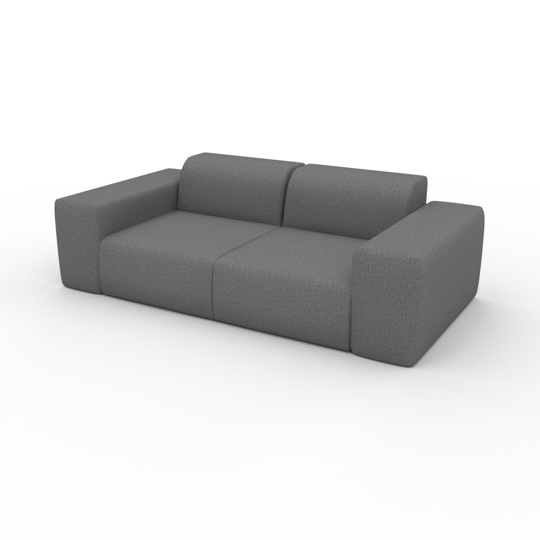 MYCS Canapé 2 places - Gris Gravier, design arrondi, petit canapé deux personnes, confortable - 216 x 72 x 107 cm, modulable