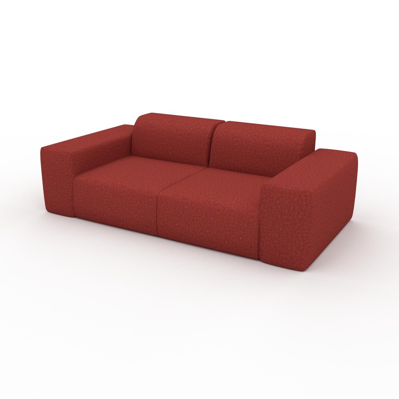 MYCS Canapé 2 places - Orange Sanguine, design arrondi, petit canapé deux personnes, confortable - 216 x 72 x 107 cm, modulable
