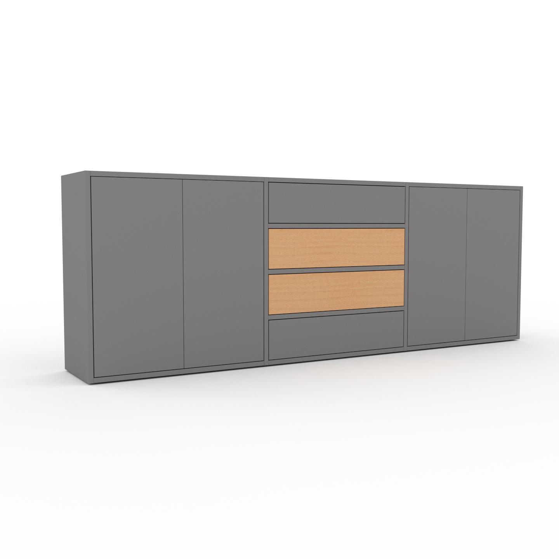 MYCS Enfilade - Gris, design, buffet, avec porte Gris et tiroir Gris - 226 x 80 x 35 cm