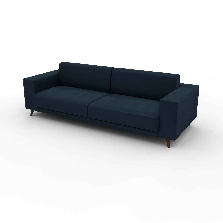 MYCS Canapé 3 places Velours - Bleu Nuit, modèle épuré, canapé pour trois personnes, sophistiqué - 248 x 75 x 98 cm, modulable