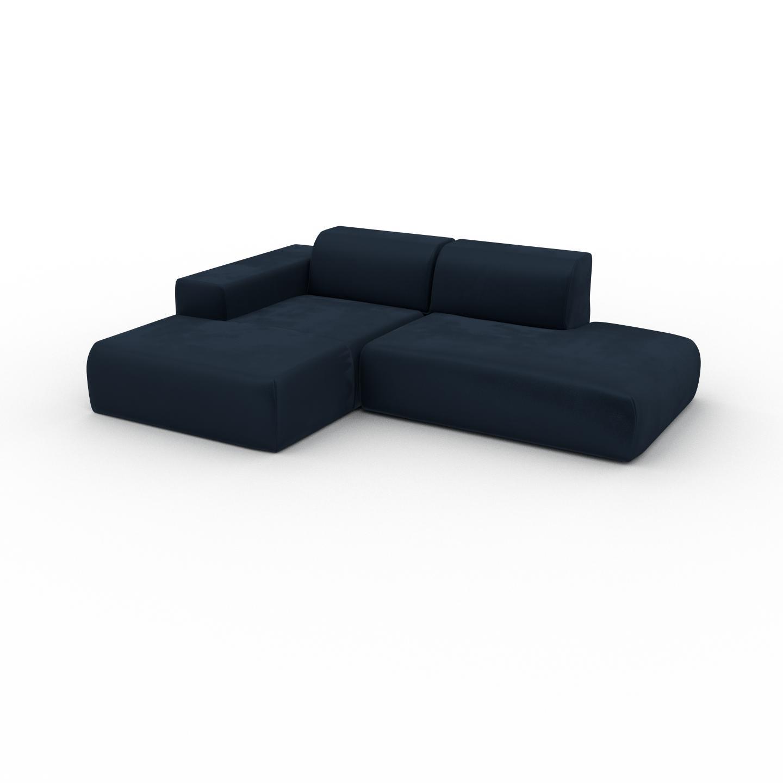 MYCS Canapé d'angle Velours - Bleu Nuit, design arrondi, canapé en L ou angle, confortable avec méridienne ou coin - 245 x 72 x 168 cm, modulable