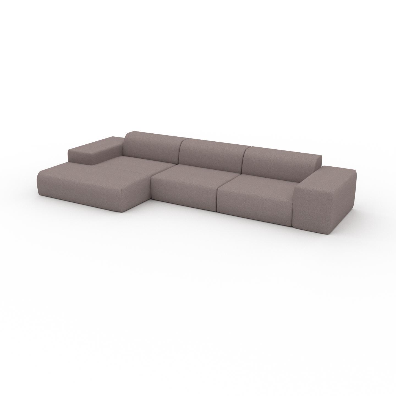 MYCS Canapé d'angle - Gris Taupe, design arrondi, canapé en L ou angle, confortable avec méridienne ou coin - 396 x 72 x 168 cm, modulable