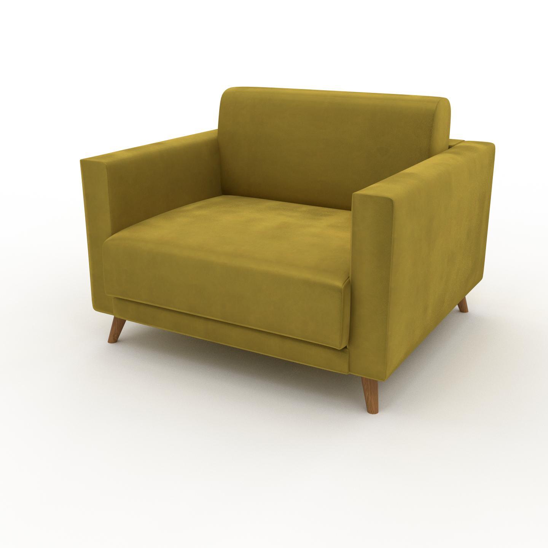 MYCS Fauteuil Velours - Jaune Colza, modèle épuré, grand fauteuil en tissu avec pieds personnalisables - 105 x 75 x 98 cm, modulable