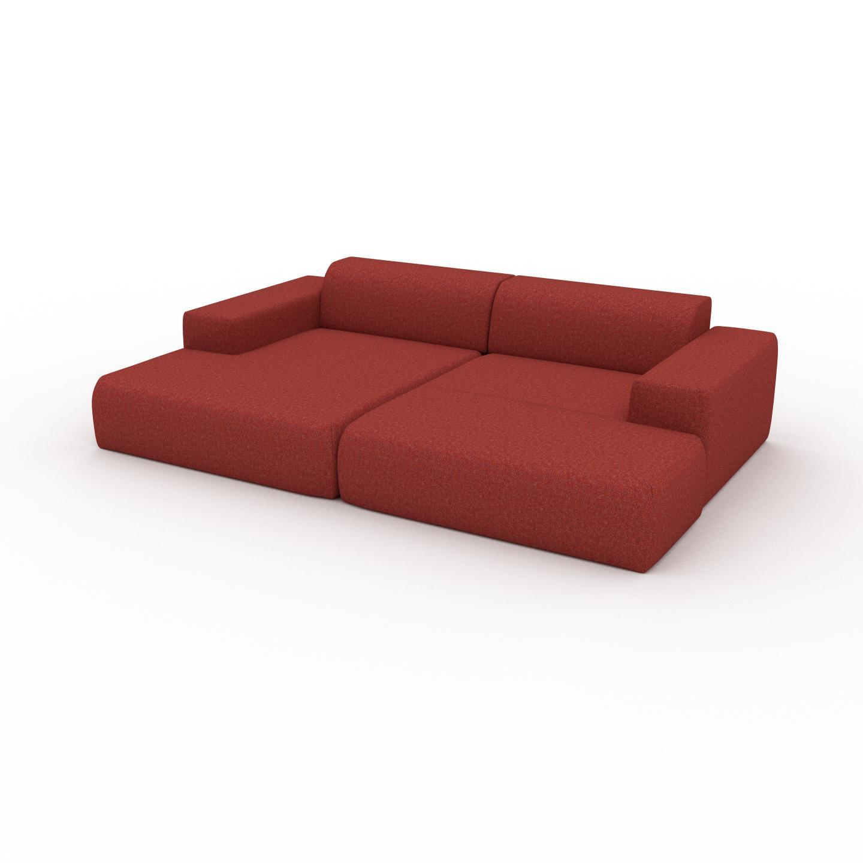 MYCS Canapé en U - Orange Sanguine, design arrondi, canapé d'angle panoramique, grand, bas et confortable - 270 x 72 x 168 cm, modulable
