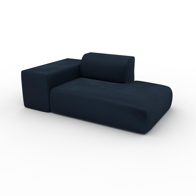 MYCS Canapé Velours - Bleu Nuit, forme arrondie, canapé bas et profond pour salon, en tissu sans pieds - 182 x 72 x 107 cm, modulable
