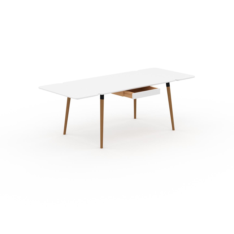 MYCS Bureau scandinave - Blanc, design moderne, table de travail nordique, avec pieds inclinés et épurés - 220 x 75 x 90 cm, modulable