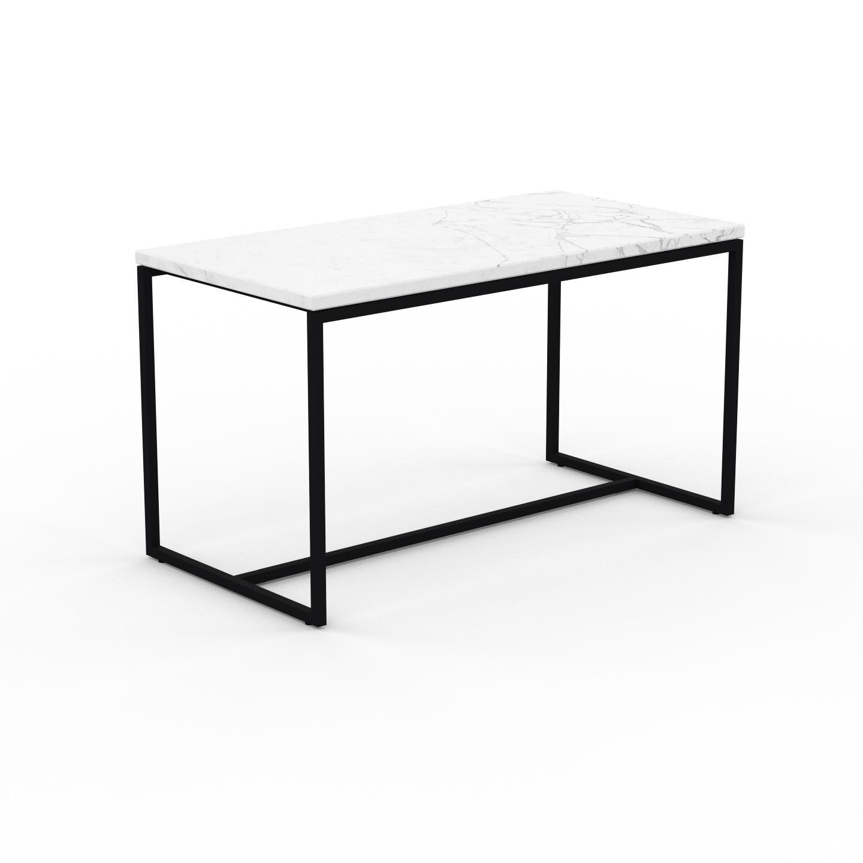 MYCS Table basse en marbre Blanc Carrara, design contemporain, bout de canapé luxueux et sophistiqué - 81 x 46 x 42 cm, personnalisable