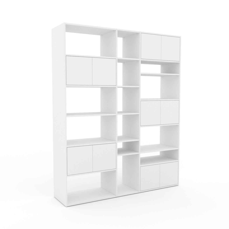 MYCS Bibliothèque - Blanc, pièce de caractère, rangements raffiné, avec porte Blanc - 190 x 233 x 47 cm, configurable