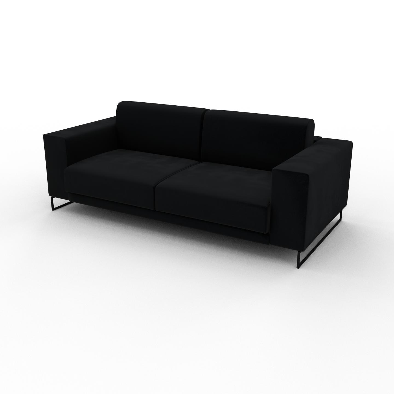 MYCS Canapé 2 places Velours - Noir, design épuré, petit canapé deux personnes, élégant - 208 x 75 x 98 cm, modulable