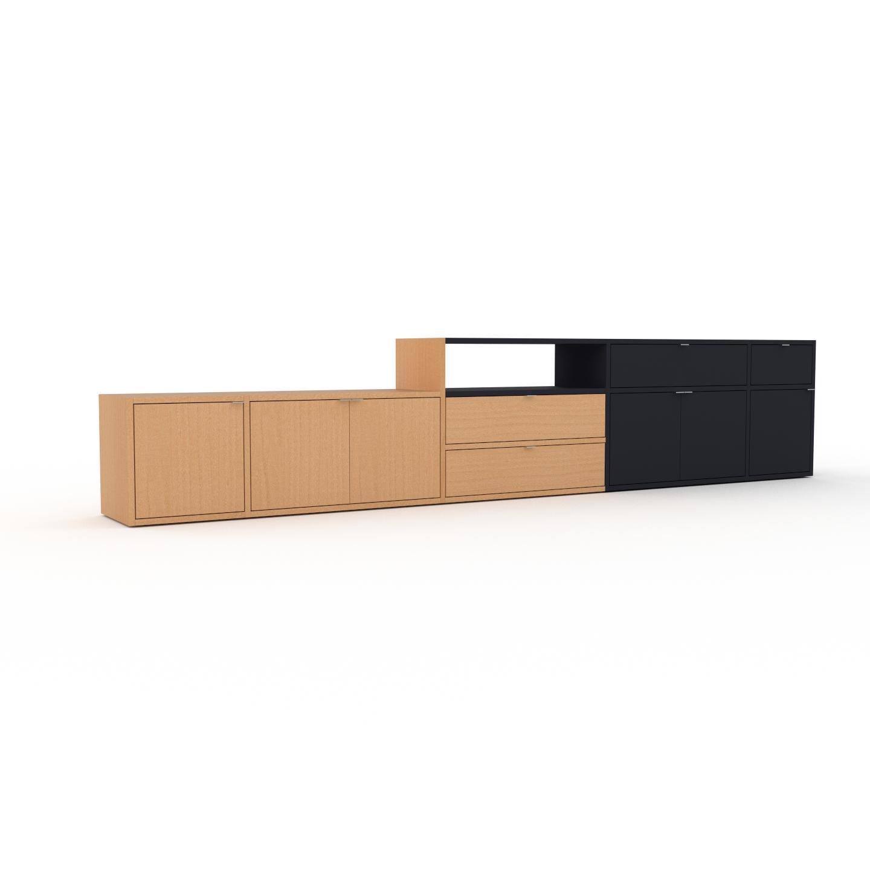 MYCS Étagère - Hêtre, design, avec porte Hêtre et tiroir Hêtre - 303 x 61 x 35 cm, modulable