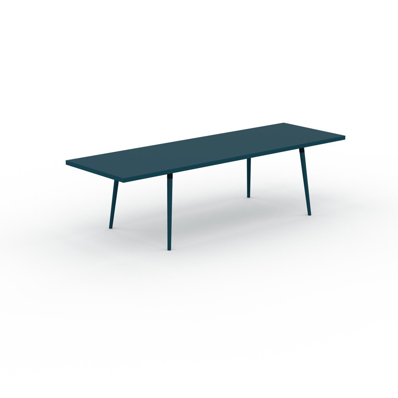 MYCS Table à manger - Bleu pétrole, design scandinave, pour salle à manger ou cuisine nordique, table extensible à rallonge - 280 x 75 x 90 cm