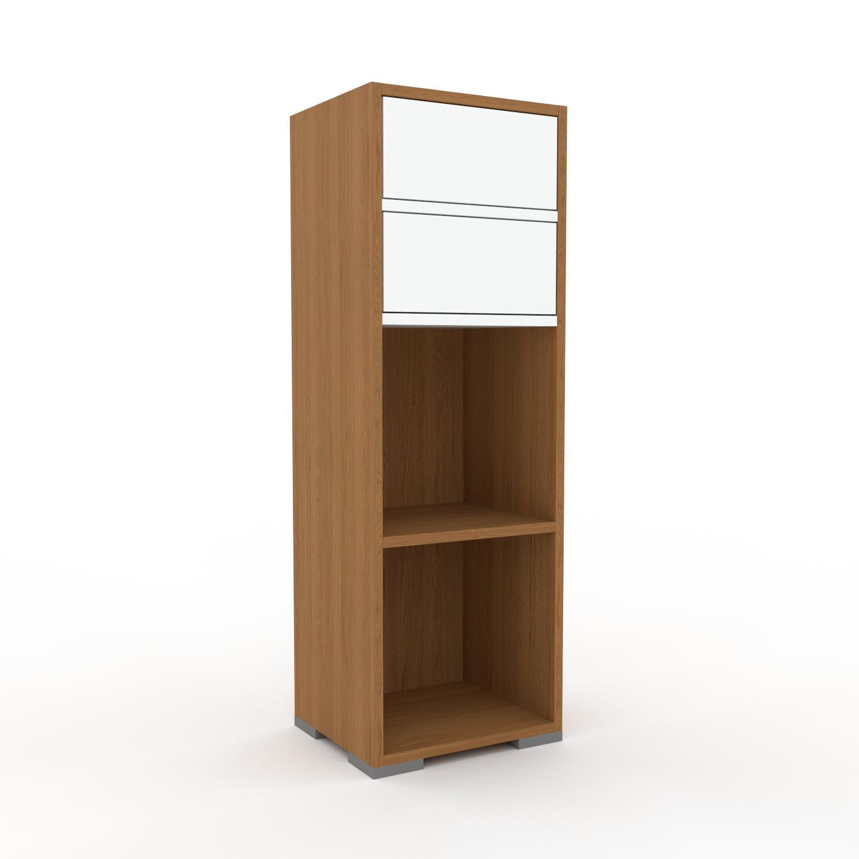 MYCS Étagère bureau - Chêne, design contemporain, cabinet de rangement, avec tiroir Blanc - 41 x 120 x 35 cm, modulable