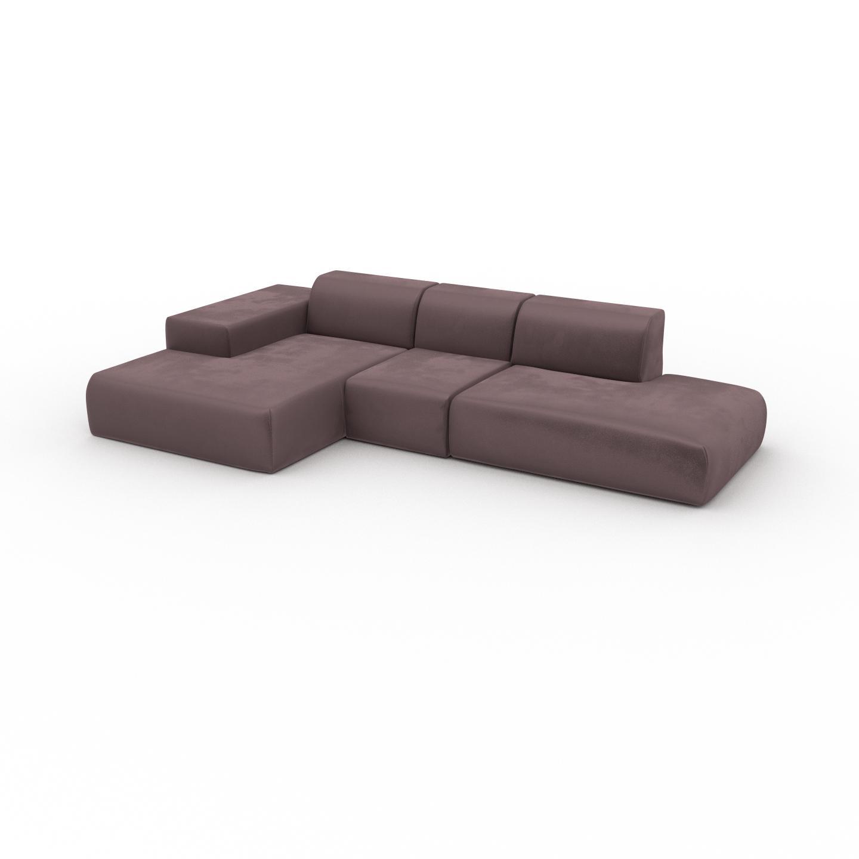 MYCS Canapé d'angle Velours - Rose Poudré, design arrondi, canapé en L ou angle, confortable avec méridienne ou coin - 319 x 72 x 168 cm, modulable