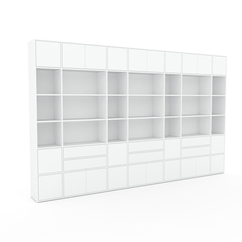 MYCS Placard - Blanc, moderne, rangements, avec porte Blanc et tiroir Blanc - 380 x 233 x 35 cm