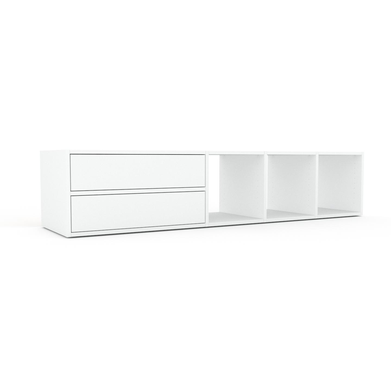 MYCS Meuble TV - Blanc, contemporain, meuble hifi, multimedia raffiné, avec tiroir Blanc - 193 x 41 x 47 cm, configurable