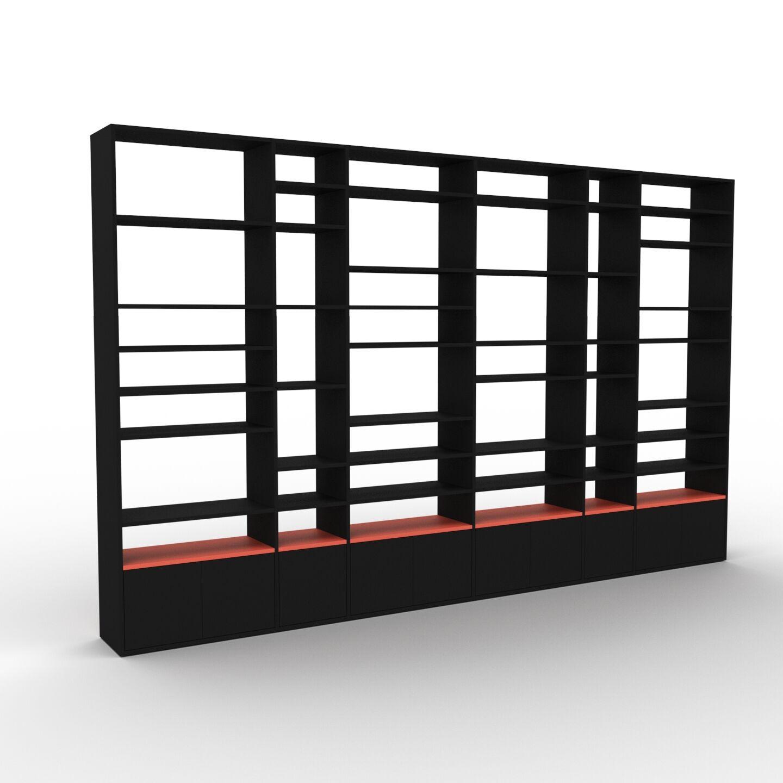 MYCS Placard - Noir, contemporain, rangements, avec porte Noir - 378 x 233 x 35 cm, modulable