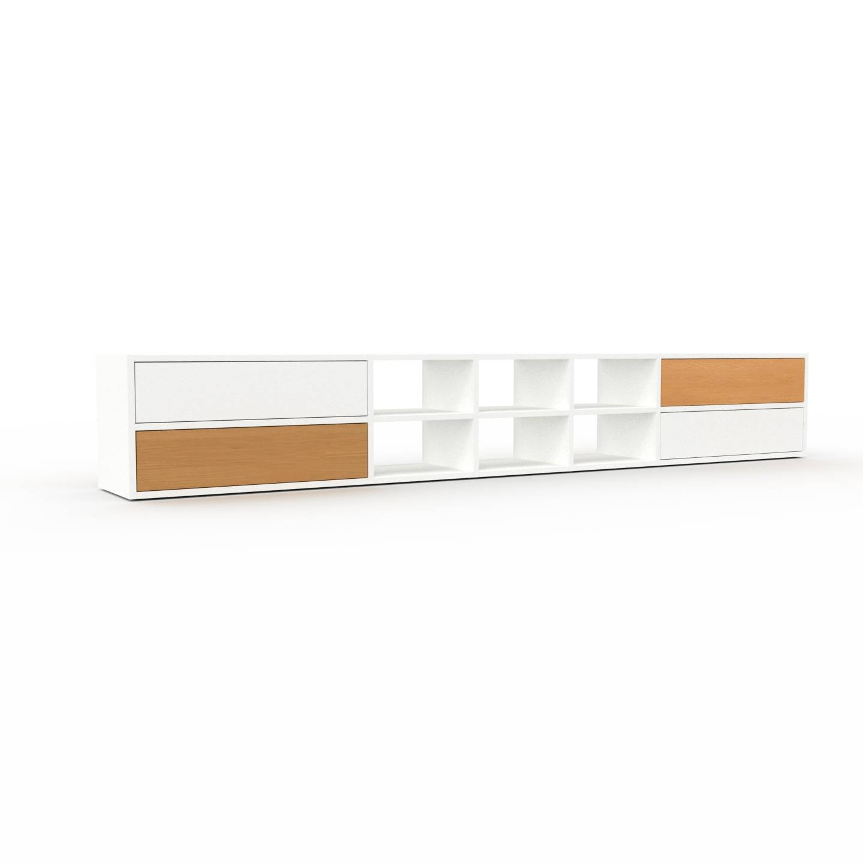 MYCS Étagère - Blanc, contemporaine, avec tiroir Blanc - 267 x 41 x 35 cm, personnalisable