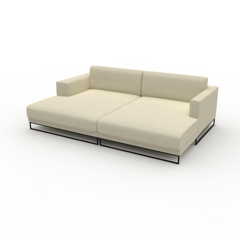 MYCS Canapé en cuir - Blanc crème Cuir Végan, lounge, esprit club ou cosy avec toucher chaleureux, 236x 75 x 162 cm, modulable