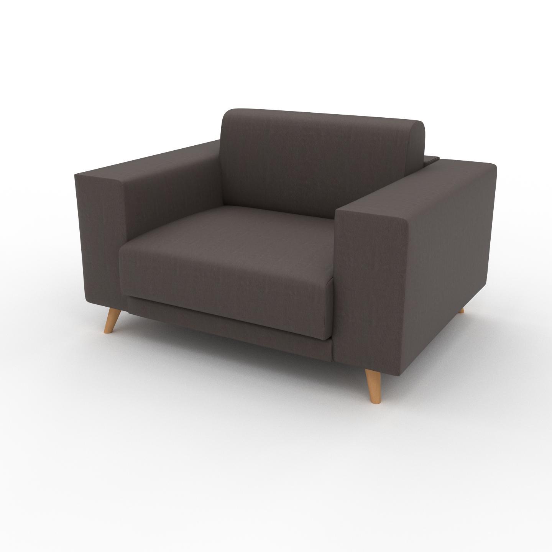MYCS Canapé en cuir - Brun gris Cuir Végan, lounge, esprit club ou cosy avec toucher chaleureux, 128x 75 x 98 cm, modulable