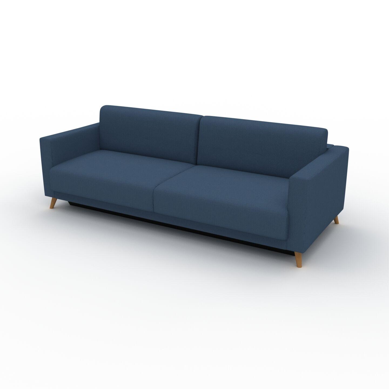 MYCS Canapé - Bleu Océan, modèle épuré, canapé pour salon, en tissu avec pieds personnalisables - 225 x 75 x 98 cm, modulable
