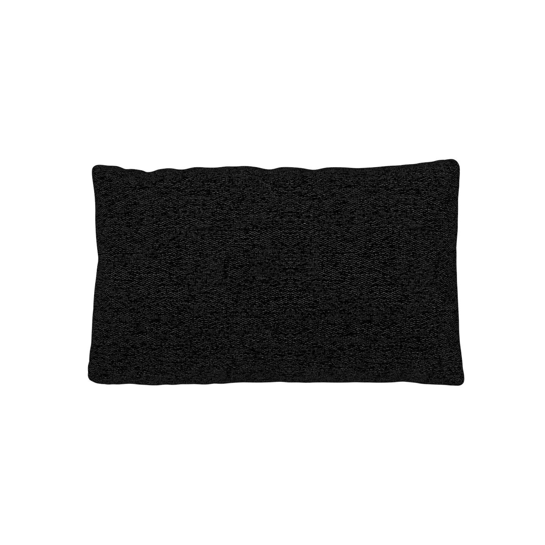 MYCS Coussin Noir Lave - 30x50 cm - Housse en Tissu grossier. Coussin de canapé moelleux
