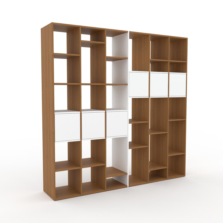 MYCS Bibliothèque - Blanc, pièce de caractère, rangements raffiné, avec porte Blanc - 233 x 233 x 47 cm, configurable