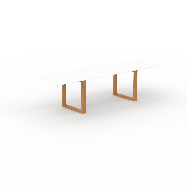 MYCS Table à manger extensible - Blanc, moderne, pour salle à manger ou cuisine, avec deux rallonges - 300 x 75 x 90 cm, personnalisable