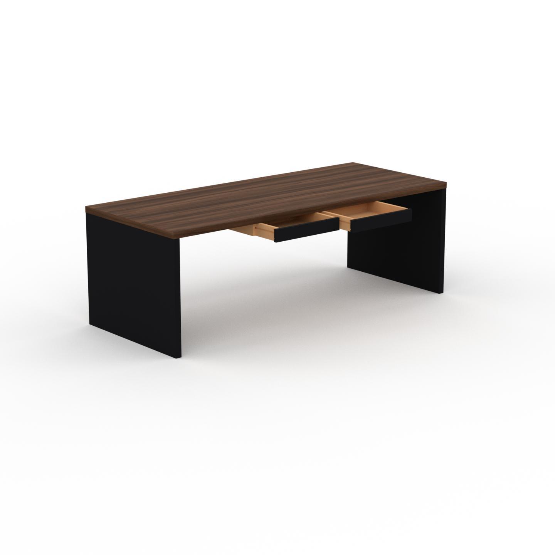 MYCS Bureau - Noyer, moderne, table de travail, avec tiroir Noir - 220 x 75 x 90 cm, modulable