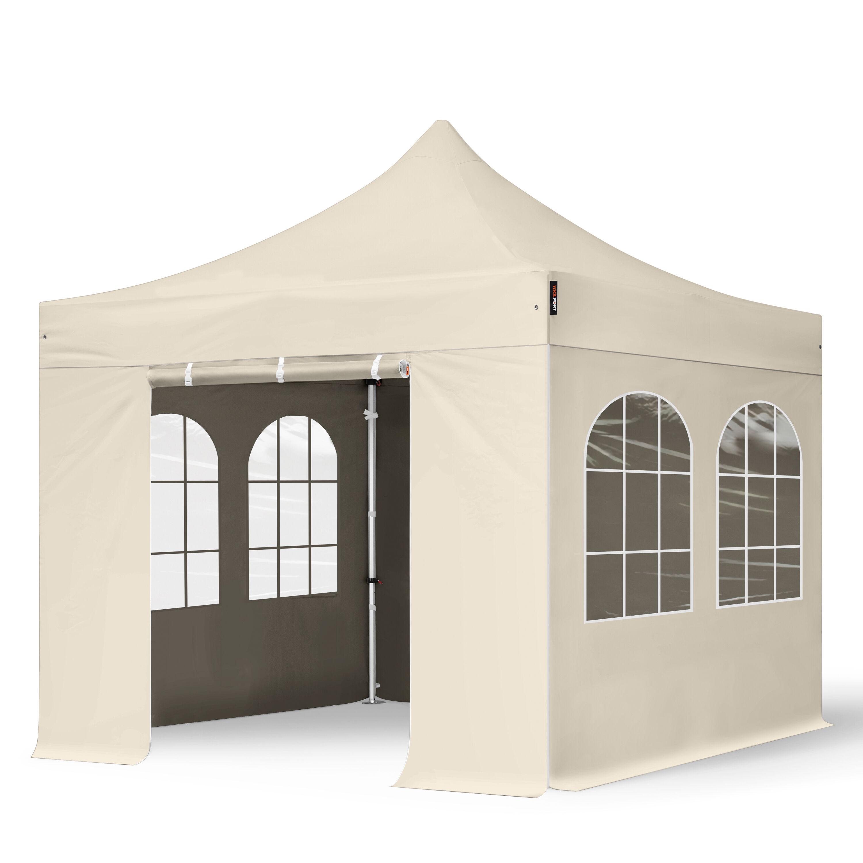 Intent24.fr Tente pliante 3x3m Polyester haute qualité 400 g/m² crème imperméable barnum pliant, tonnelle pliante