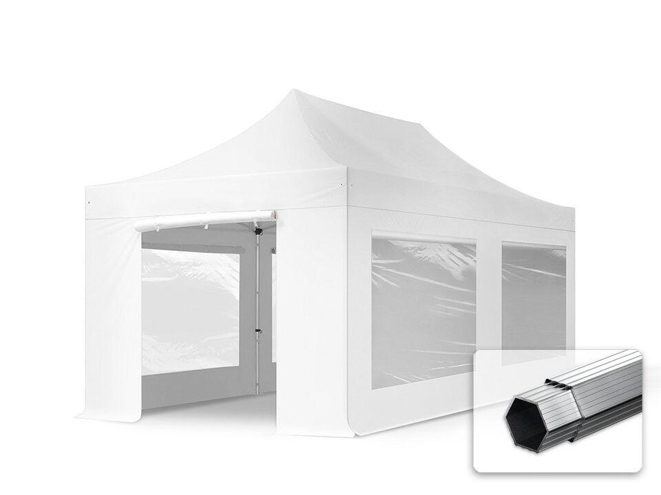Intent24.fr Tente pliante 3x6m PES 400 g/m² blanc imperméable barnum pliant, tonnelle pliante