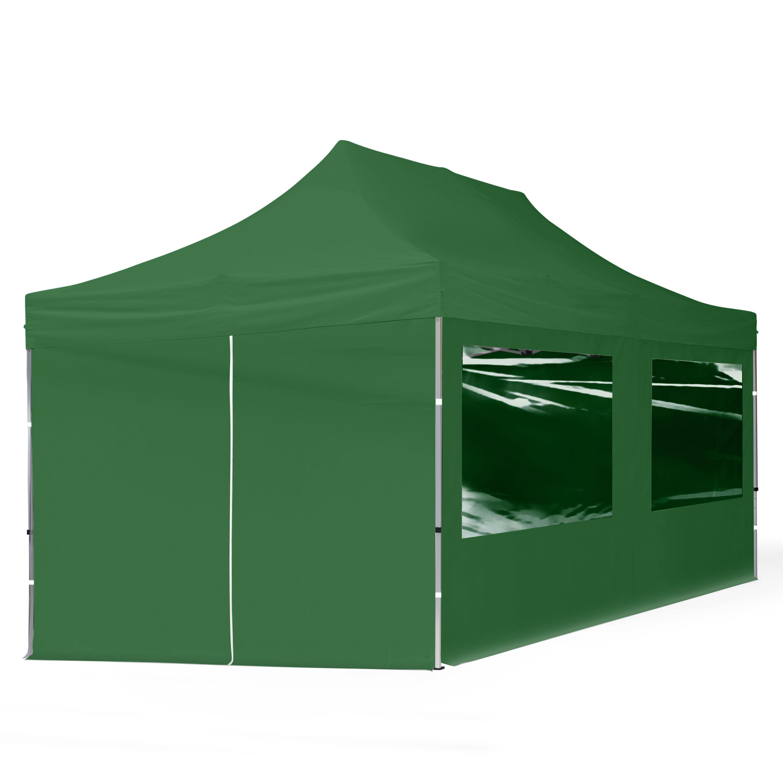 Intent24.fr Tente pliante 3x6m Polyester haute qualité 300 g/m² vert imperméable barnum pliant, tonnelle pliante