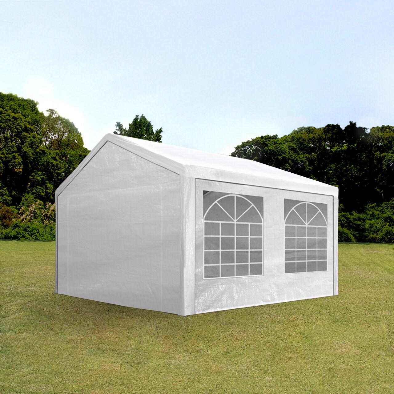 Intent24.fr Tente de réception 4x5m PE 180g/m² blanc imperméable barnum, chapiteau