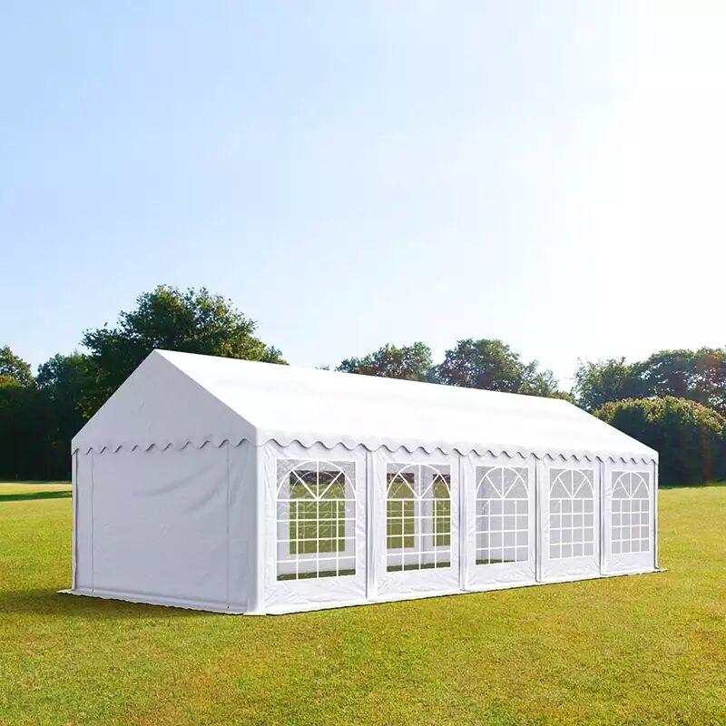 Intent24.fr Tente de réception 4x10m PVC 500 g/m² blanc imperméable barnum, chapiteau