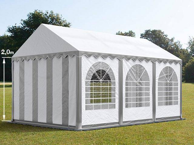 Intent24.fr Tente de réception 4x6m PVC 550 g/m² gris imperméable barnum, chapiteau